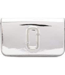 marc jacobs the long shot mirrored clutch - silver