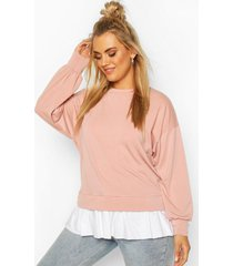 plus contrasterende katoenen sweater met ruches, blush