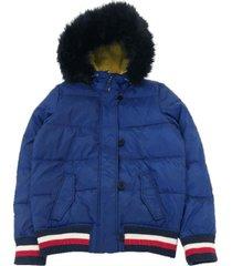 chaqueta con gorro y piel th tort azul tommy hilfiger