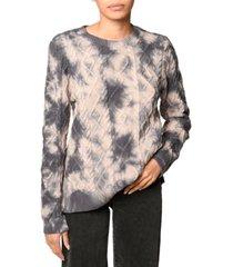 nicole miller women's cotton tie-dye-print cable-knit sweater
