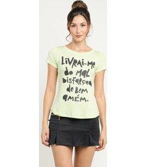 t-shirt manola livrai-me  verde claro - kanui