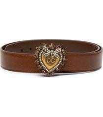dolce & gabbana devotion pearl-embellished leather belt - brown