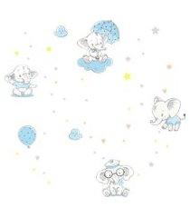 adesivo de parede elefante baby azul 4,5m²
