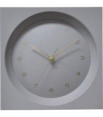 relógio parede pu square globe cinza 20x20