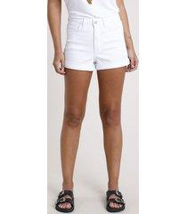 short de sarja feminino hot pant cintura super alta com barra dobrada branco