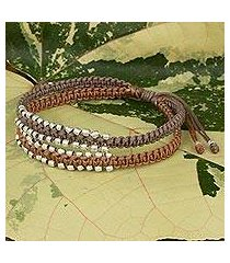 braided wristband bracelet, 'khaki brown urban siam' (thailand)