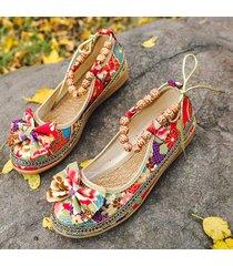 scarpe casual con zeppa in pizzo con perline e lacci