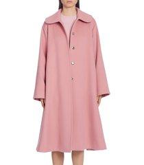 women's dolce & gabbana belted woolen a-line coat, size 6 us / 42 it - pink