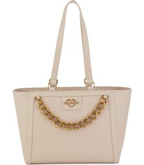 love moschino women's grigio chain-detail faux leather tote - beige
