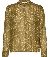 elmy shirt aop 9695 blus långärmad grön samsøe samsøe