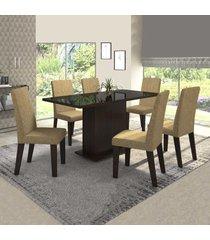mesa de jantar 6 lugares rumba com vidro preto 11566 ameixa/neve - mobilarte móveis