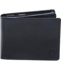carteira em couro completa preta - porta cheque plástico documentos e porta moeda preto - kanui