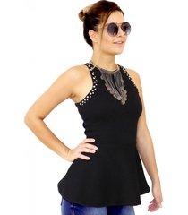 blusa dress code moda justa preta - preto - feminino - poliamida - dafiti