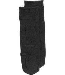 helmut lang knitted distressed socks - grey
