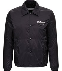 alexander mcqueen black nylon jacket with logo print