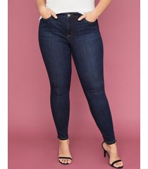 lane bryant women's power pockets super stretch skinny ankle jean - dark wash 28 x long dark denim