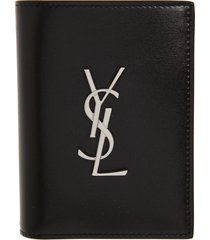 saint laurent ysl leather bilfold wallet in black silver at nordstrom