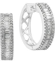 effy women's 14k white gold & diamond hoop earrings