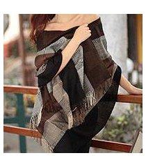 100% alpaca shawl, 'andean cocoa' (peru)