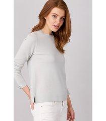 basic trui met ronde hals van zijde en cashmere