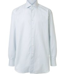 brioni mid-length striped shirt - blue