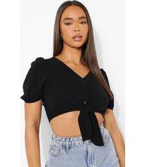 blouse met strik en knopen, black