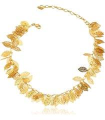 tornozeleira rincawesky folhas dourada