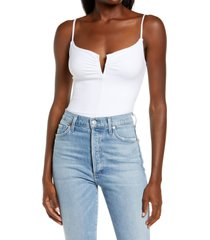 afrm tizy thong bodysuit, size x-large in blanc at nordstrom