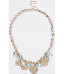river island womens gold colour blue pearl chain necklace