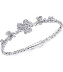crystal flowers sterling silver bangle bracelet