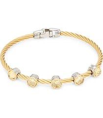 18k white & yellow gold stainless steel & citrine bangle bracelet