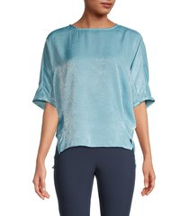 patrizia luca women's velour top - blue - size l