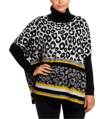 joseph a animal-print turtleneck poncho