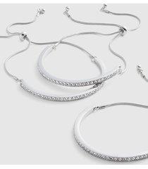 lane bryant women's 3-row pave adjustable bracelet set onesz silver