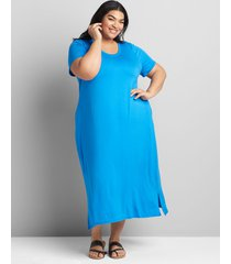 lane bryant women's jersey midi dress 30/32 french blue