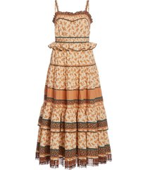 cecilie fringed floral-print cotton midi dress