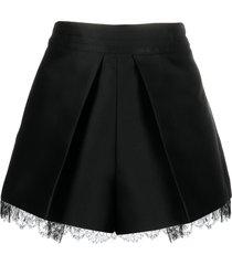 emporio armani lace-trim satin shorts - black