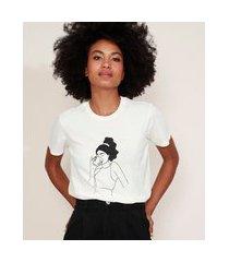 t-shirt feminina mindset mulher com xícara manga curta decote redondo off white