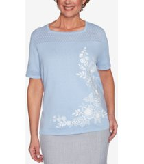 alfred dunner petite french bistro asymmetric floral pointelle sweater