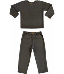 conjunto de pijama em soft grosso douvelin chumbo - cinza - poliã©ster - dafiti