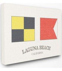 """stupell industries laguna beach nautical flags canvas wall art, 16"""" x 20"""""""
