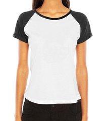 camiseta criativa urbana raglan lisa básica - feminino