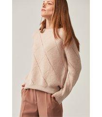pudrowy sweter z mieszanki wełny