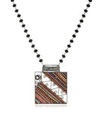 colar le diamond prata envelhecida com maxi pingente quadrado - kanui