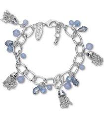 style & co multi-bead & chain tassel charm link bracelet, created for macy's