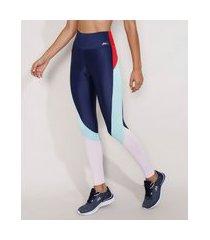 calça legging feminina esportiva ace color block azul marinho