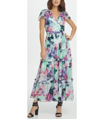 dkny flutter sleeve surplice tiered maxi dress