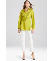natori cotton poplin tie front tunic top, women's, yellow, size l natori