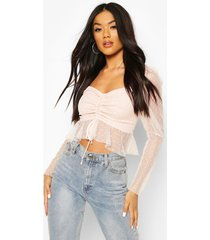 dobby mesh puff sleeve tie front top, blush