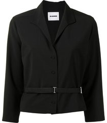 jil sander v-neck belted shirt - black